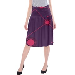 Abstract Lines Radiate Planets Web Midi Beach Skirt