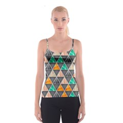 Abstract Geometric Triangle Shape Spaghetti Strap Top