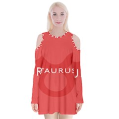 Zodizc Taurus Red Velvet Long Sleeve Shoulder Cutout Dress by Mariart