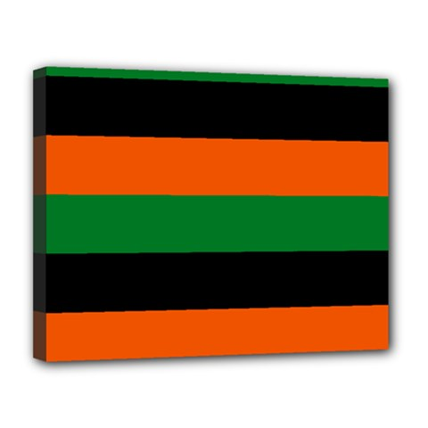 Color Green Orange Black Canvas 14  X 11  by Mariart