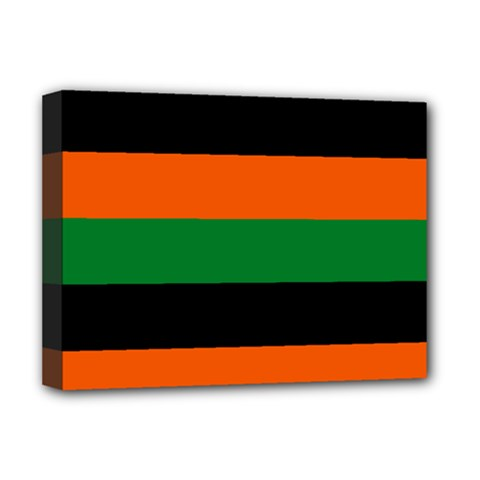 Color Green Orange Black Deluxe Canvas 16  X 12   by Mariart
