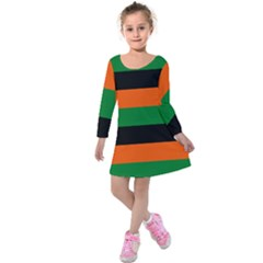 Color Green Orange Black Kids  Long Sleeve Velvet Dress by Mariart