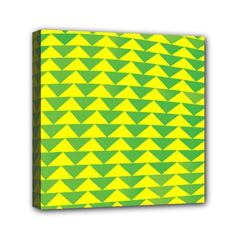 Arrow Triangle Green Yellow Mini Canvas 6  X 6  by Mariart