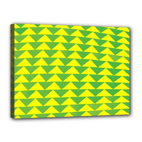 Arrow Triangle Green Yellow Canvas 16  X 12  by Mariart