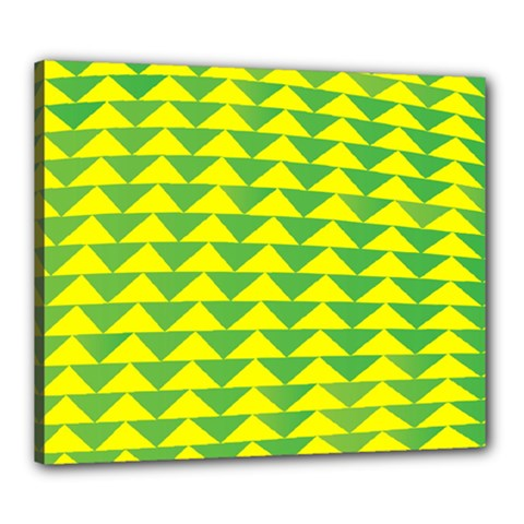 Arrow Triangle Green Yellow Canvas 24  X 20  by Mariart