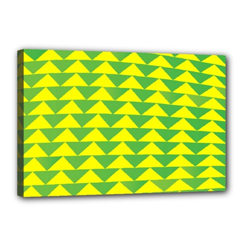 Arrow Triangle Green Yellow Canvas 18  X 12  by Mariart