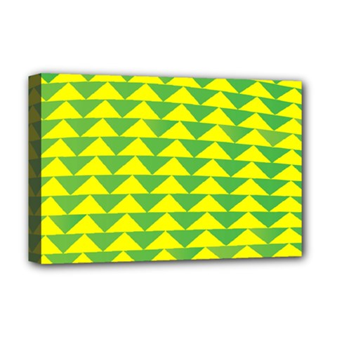 Arrow Triangle Green Yellow Deluxe Canvas 18  X 12   by Mariart