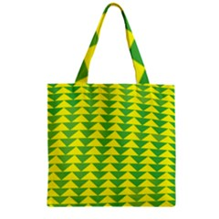 Arrow Triangle Green Yellow Zipper Grocery Tote Bag by Mariart