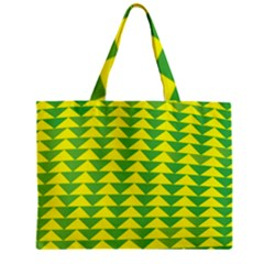 Arrow Triangle Green Yellow Zipper Mini Tote Bag by Mariart