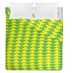 Arrow Triangle Green Yellow Duvet Cover Double Side (queen Size) by Mariart