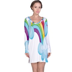 Could Rainbow Red Yellow Green Blue Purple Long Sleeve Nightdress
