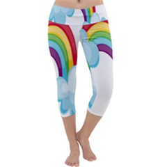 Could Rainbow Red Yellow Green Blue Purple Capri Yoga Leggings by Mariart