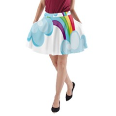 Could Rainbow Red Yellow Green Blue Purple A Line Pocket Skirt by Mariart