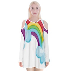 Could Rainbow Red Yellow Green Blue Purple Velvet Long Sleeve Shoulder Cutout Dress by Mariart