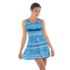Blue Circle Line Waves Cotton Racerback Dress by Mariart