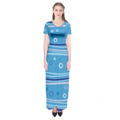 Blue Circle Line Waves Short Sleeve Maxi Dress by Mariart