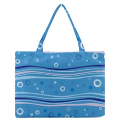 Blue Circle Line Waves Medium Zipper Tote Bag by Mariart