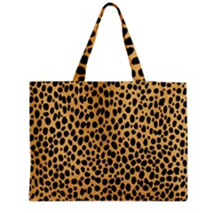 Cheetah Skin Spor Polka Dot Brown Black Dalmantion Medium Zipper Tote Bag by Mariart