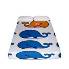 Fish Animals Whale Blue Orange Love Fitted Sheet (full/ Double Size) by Mariart