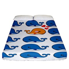Fish Animals Whale Blue Orange Love Fitted Sheet (california King Size) by Mariart