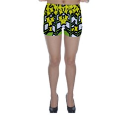 Flower Floral Sakura Yellow Green Leaf Skinny Shorts by Mariart