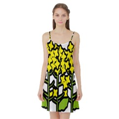 Flower Floral Sakura Yellow Green Leaf Satin Night Slip