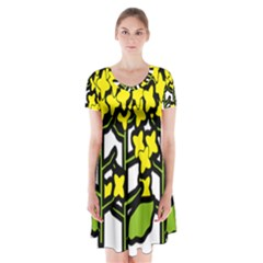 Flower Floral Sakura Yellow Green Leaf Short Sleeve V Neck Flare Dress by Mariart