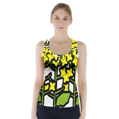 Flower Floral Sakura Yellow Green Leaf Racer Back Sports Top