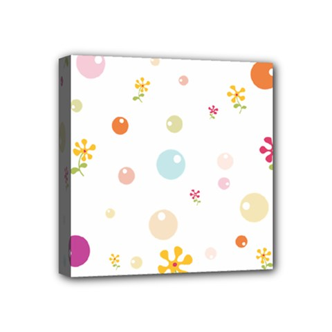Flower Floral Star Balloon Bubble Mini Canvas 4  X 4  by Mariart