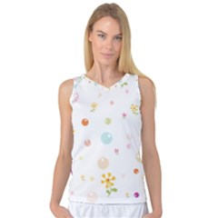 Flower Floral Star Balloon Bubble Women s Basketball Tank Top by Mariart