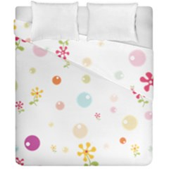 Flower Floral Star Balloon Bubble Duvet Cover Double Side (california King Size) by Mariart