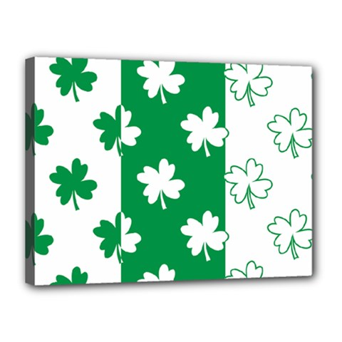 Flower Green Shamrock White Canvas 16  X 12  by Mariart