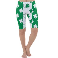 Flower Green Shamrock White Cropped Leggings  by Mariart