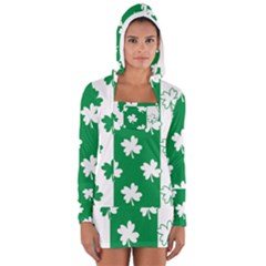 Flower Green Shamrock White Women s Long Sleeve Hooded T-shirt by Mariart