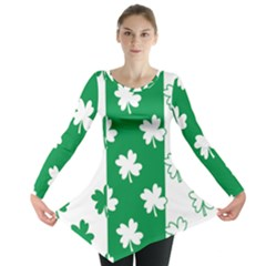 Flower Green Shamrock White Long Sleeve Tunic  by Mariart