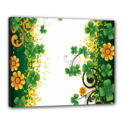 Flower Shamrock Green Gold Canvas 20  X 16  by Mariart