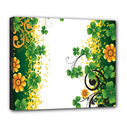 Flower Shamrock Green Gold Deluxe Canvas 24  X 20   by Mariart
