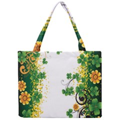 Flower Shamrock Green Gold Mini Tote Bag by Mariart