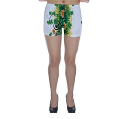 Flower Shamrock Green Gold Skinny Shorts by Mariart