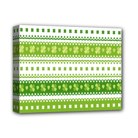 Flower Floral Green Shamrock Deluxe Canvas 14  X 11  by Mariart