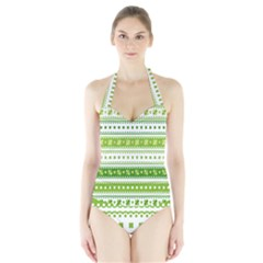 Flower Floral Green Shamrock Halter Swimsuit by Mariart