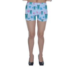 Frog Green Pink Flower Skinny Shorts by Mariart