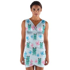 Frog Green Pink Flower Wrap Front Bodycon Dress by Mariart