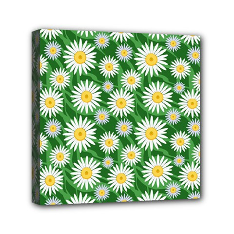 Flower Sunflower Yellow Green Leaf White Mini Canvas 6  X 6  by Mariart