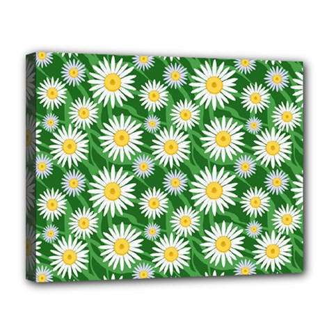 Flower Sunflower Yellow Green Leaf White Canvas 14  X 11  by Mariart