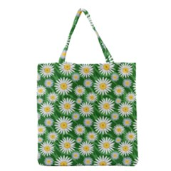 Flower Sunflower Yellow Green Leaf White Grocery Tote Bag by Mariart