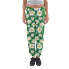 Flower Sunflower Yellow Green Leaf White Women s Jogger Sweatpants