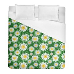 Flower Sunflower Yellow Green Leaf White Duvet Cover (full/ Double Size) by Mariart