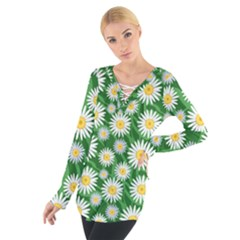 Flower Sunflower Yellow Green Leaf White Women s Tie Up Tee by Mariart