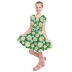 Flower Sunflower Yellow Green Leaf White Kids  Short Sleeve Dress by Mariart